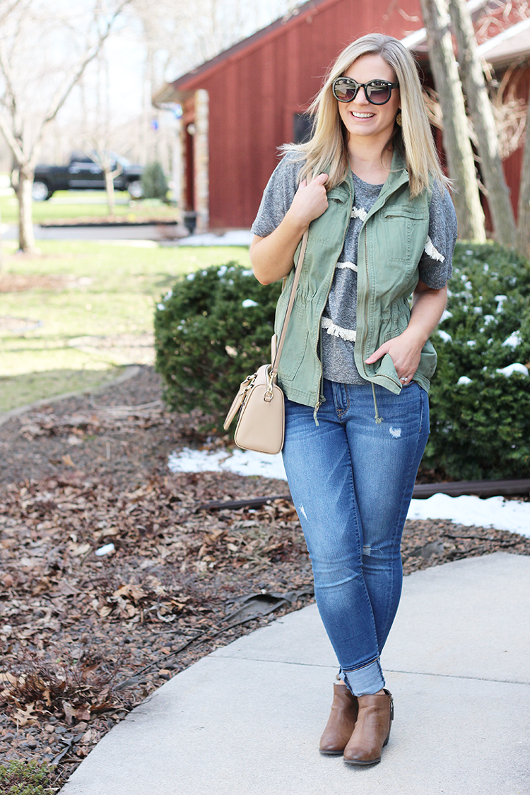 old navy fringe tee and target utility vest