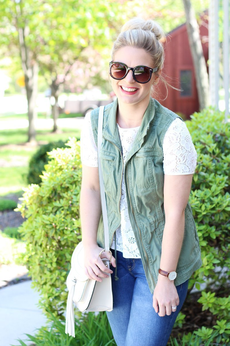 lace top with olive green utility jacket