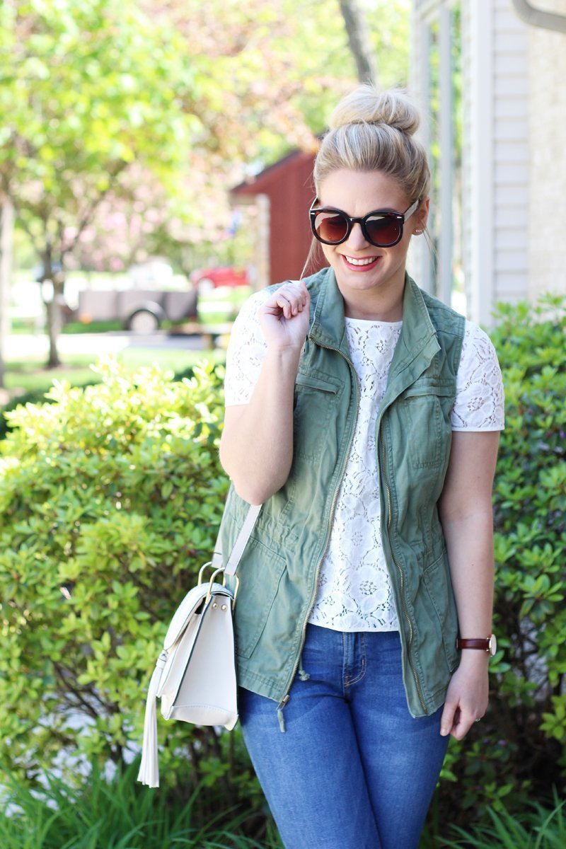 lace top with olive green utility vest