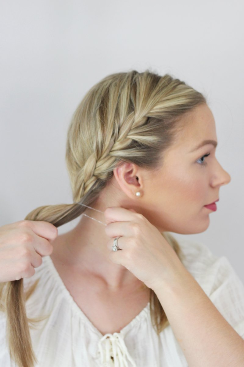 Double French Braid Messy Bun Hair Tutorial