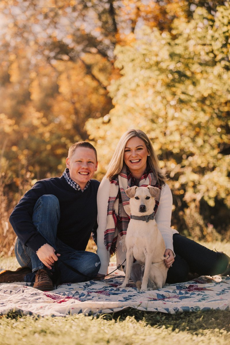 Fall Family Photos couple with dog