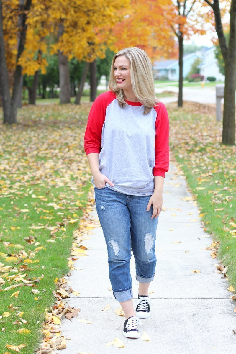 One Slouchy Tunic Worn Two Ways Mint Julep Boutique Red and Grey Slouchy Dolman Tunic