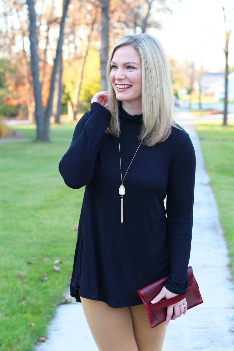 Fall Date Night black turtleneck and BP necklace from Nordstrom