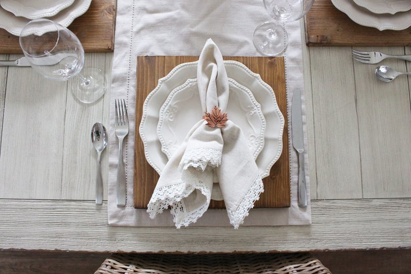 Rustic farmhouse Thanksgiving table setting with The Pioneer Woman Cowgirl Lace dishes