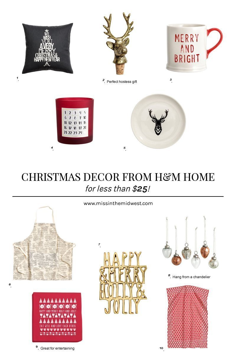 Under $25 Christmas Decor from H&M Home