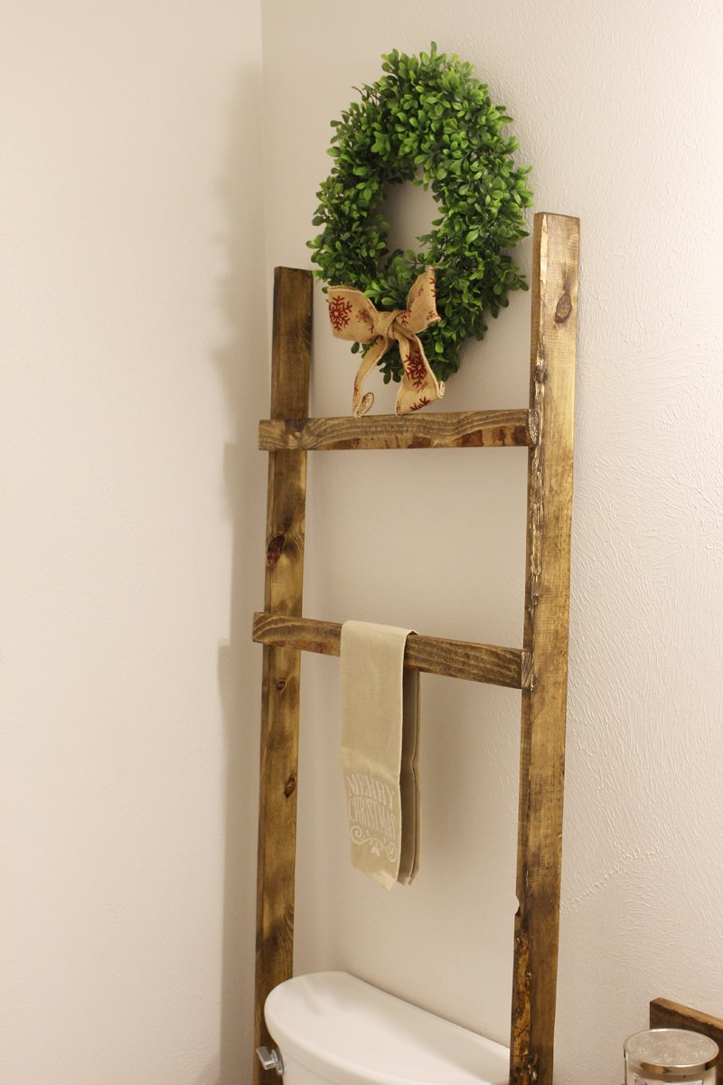 Rustic ladder above toilet in bathroom