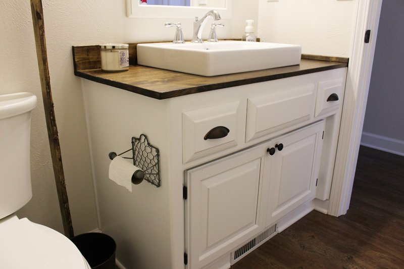Repurposed modern farmhouse bathroom vanity