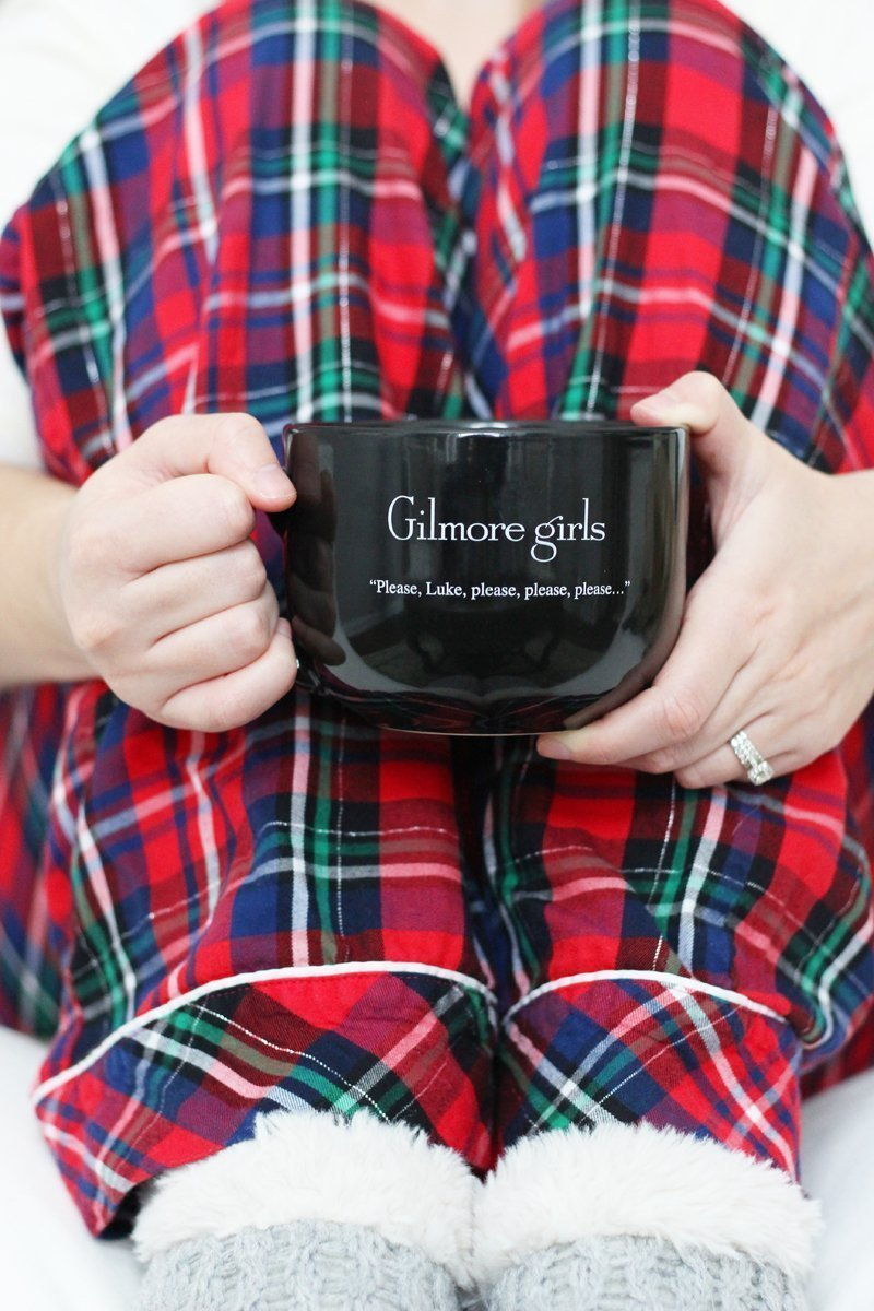 Gilmore Girls mug and plaid holiday pajama pants
