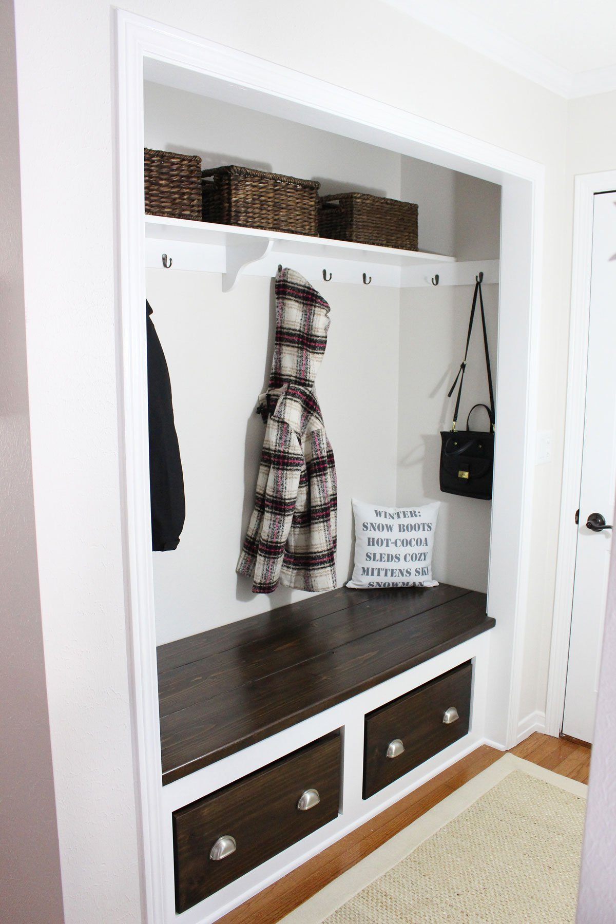 Modern Farmhouse Closet Mudroom DIY