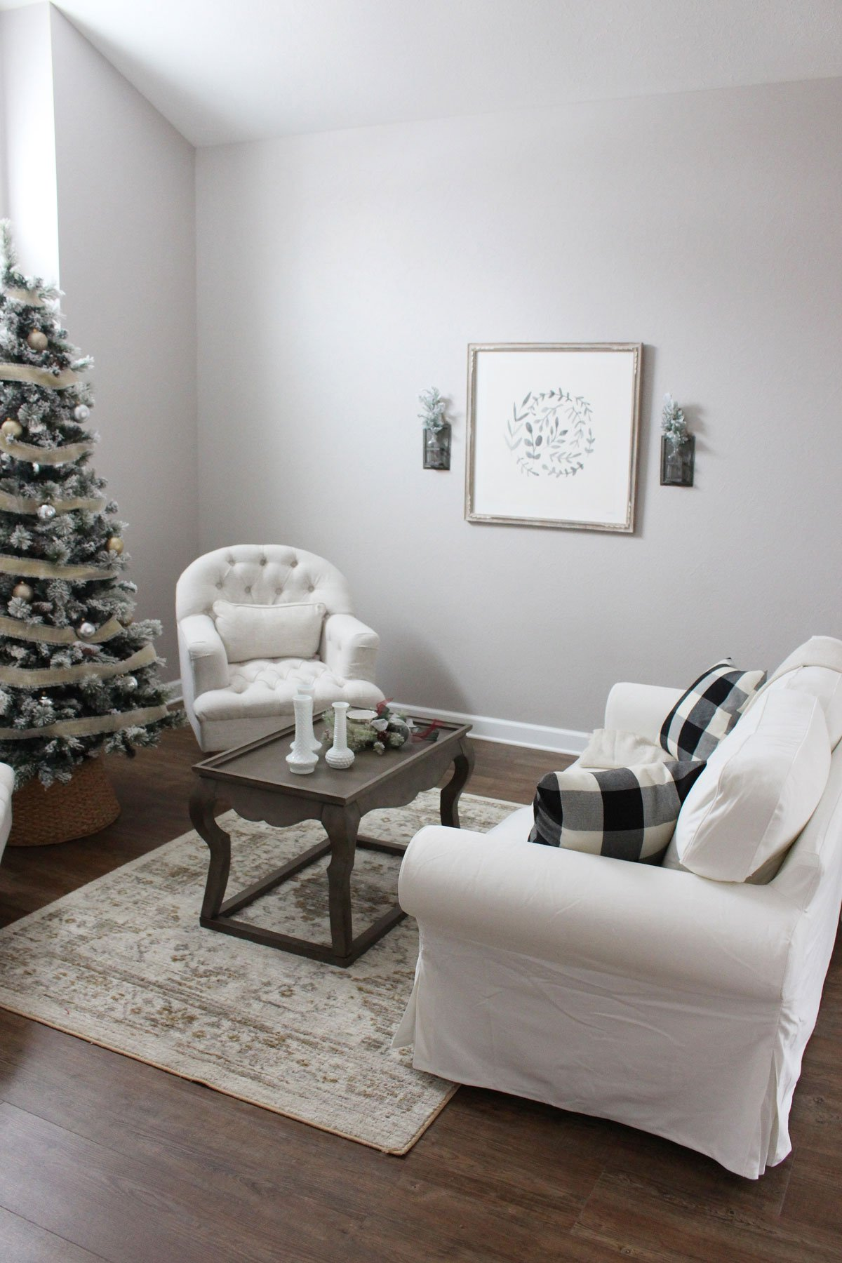 Modern Farmhouse Informal Sitting Room at Christmas