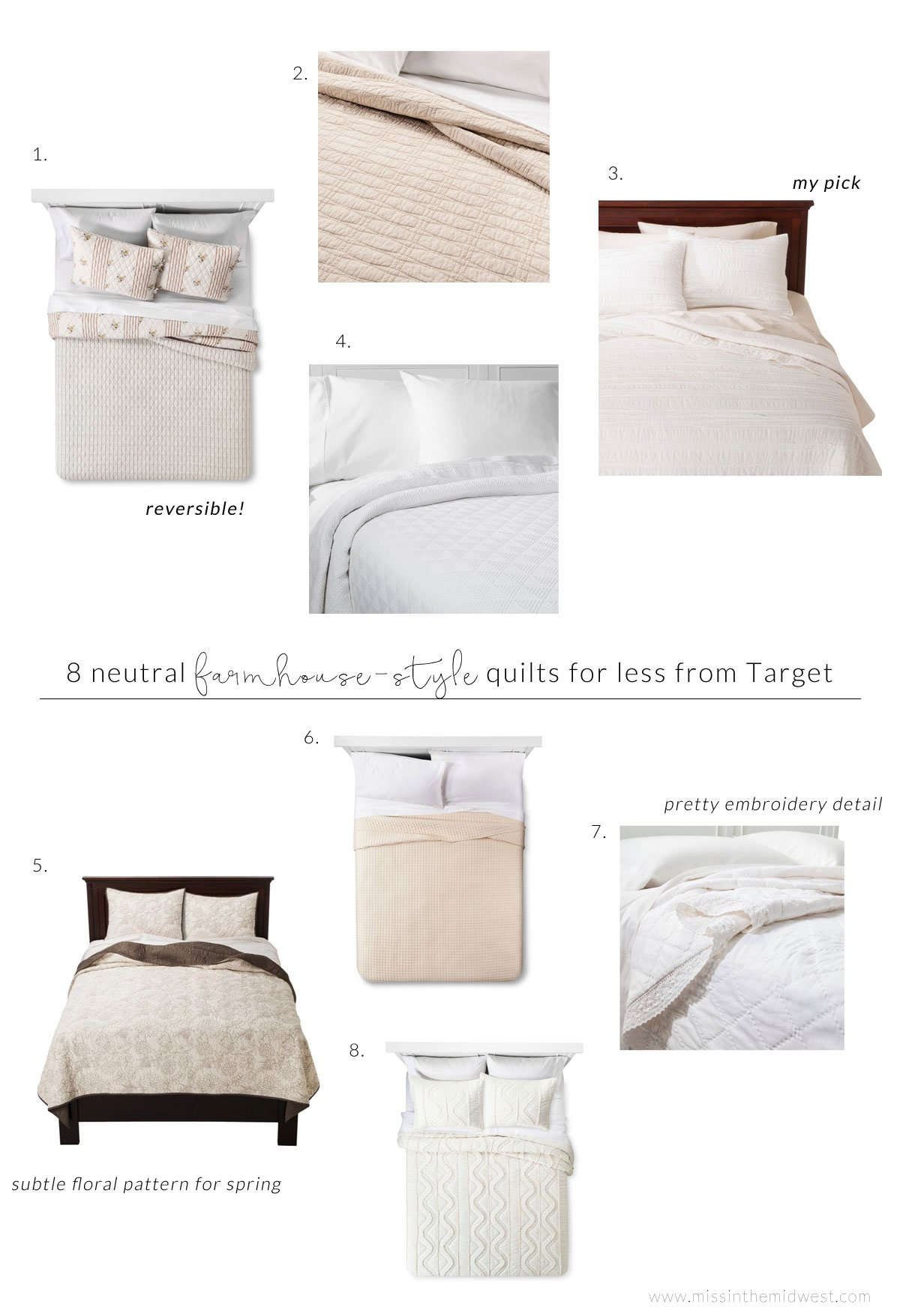 8 Neutral Farmhouse-Style Quilts for Less from Target details