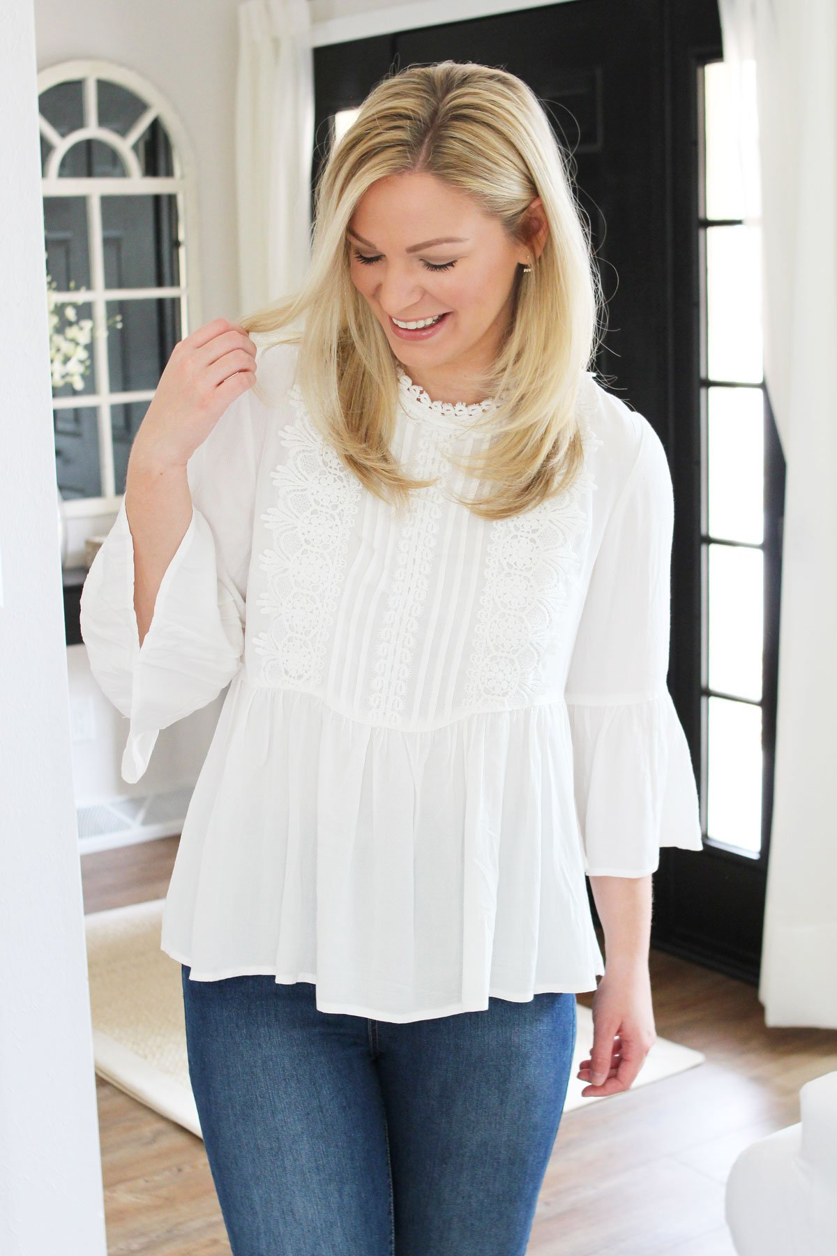 Spring Wardrobe Staple | White Lace Blouses, Target Women's Victorian Lace Bell Sleeve Blouse