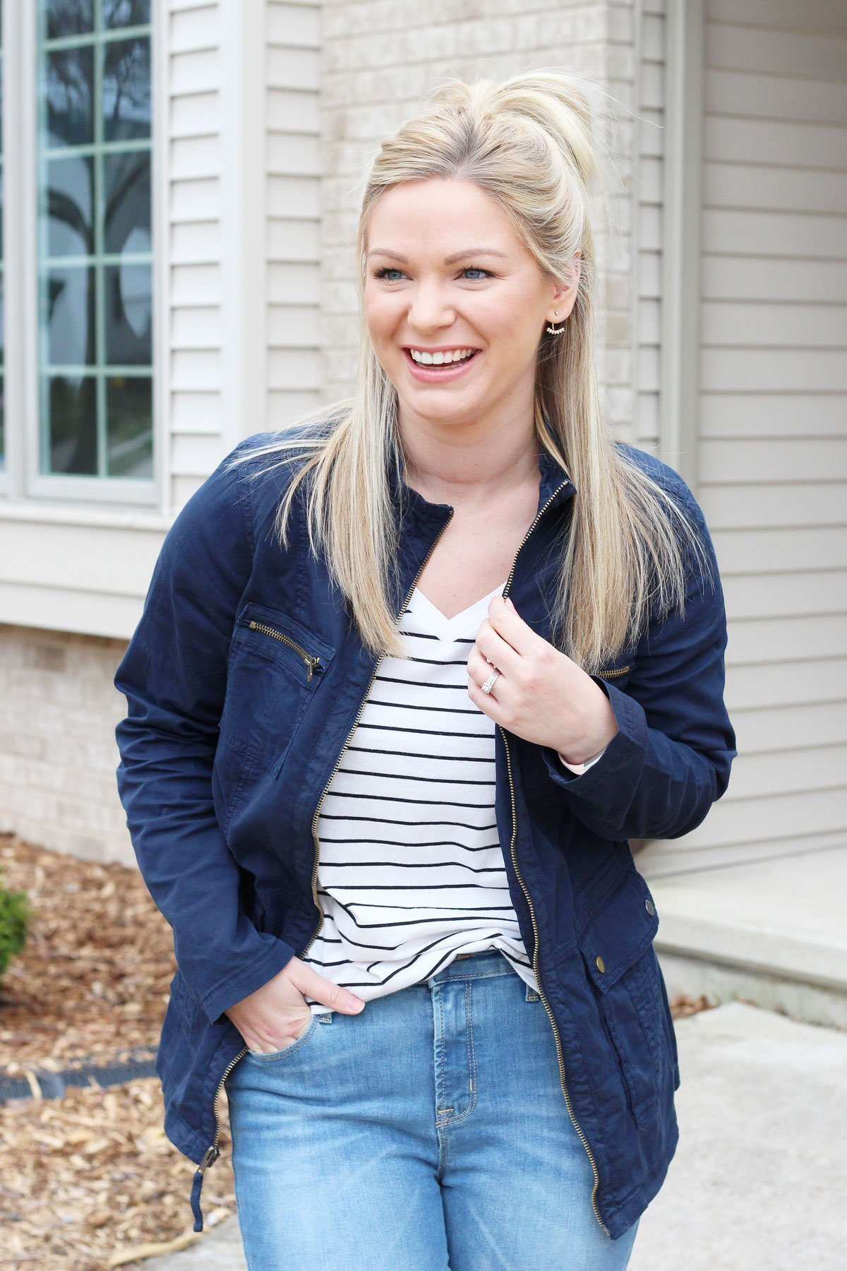 navy anorak jacket with striped tee
