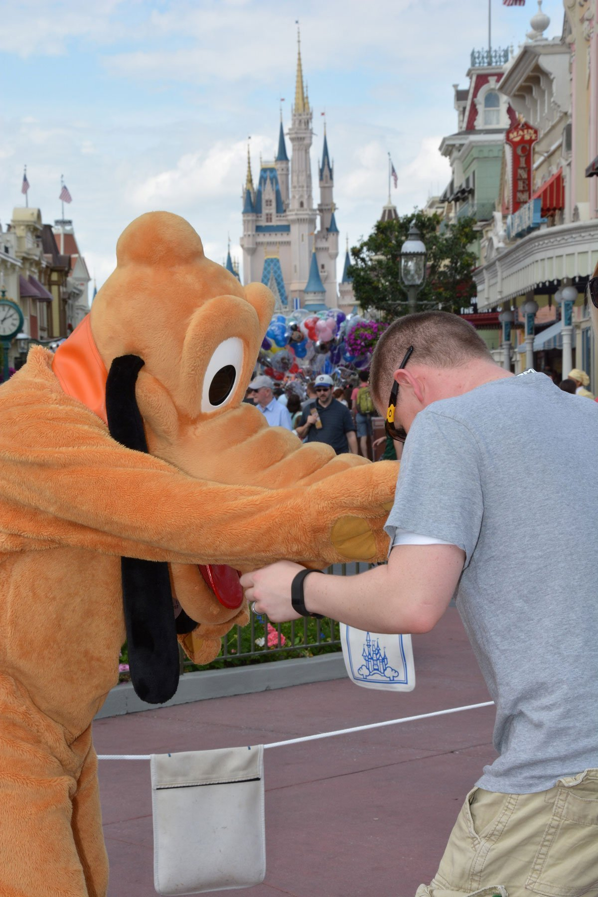 Kissing Pluto's nose during meet 'n' greet
