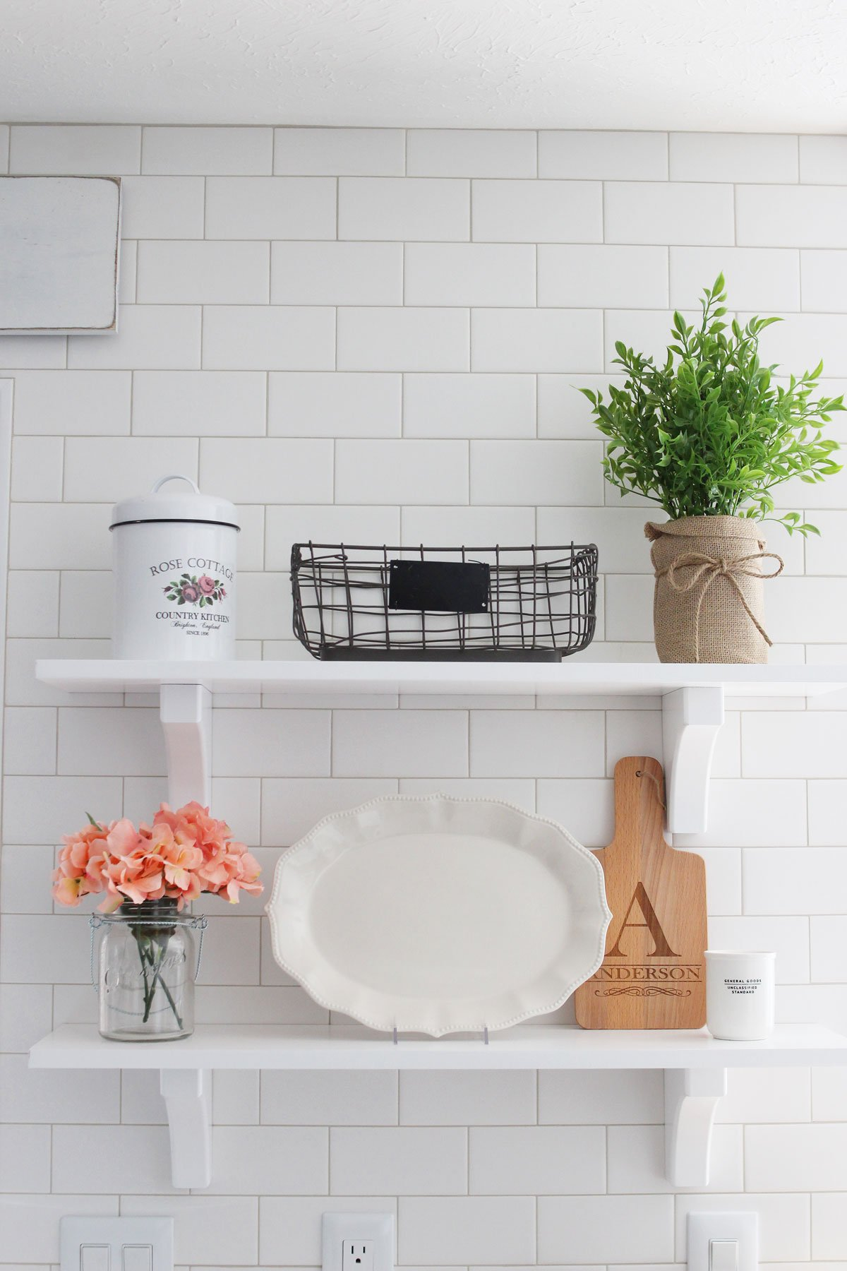 farmhouse kitchen floating shelves decorated for spring