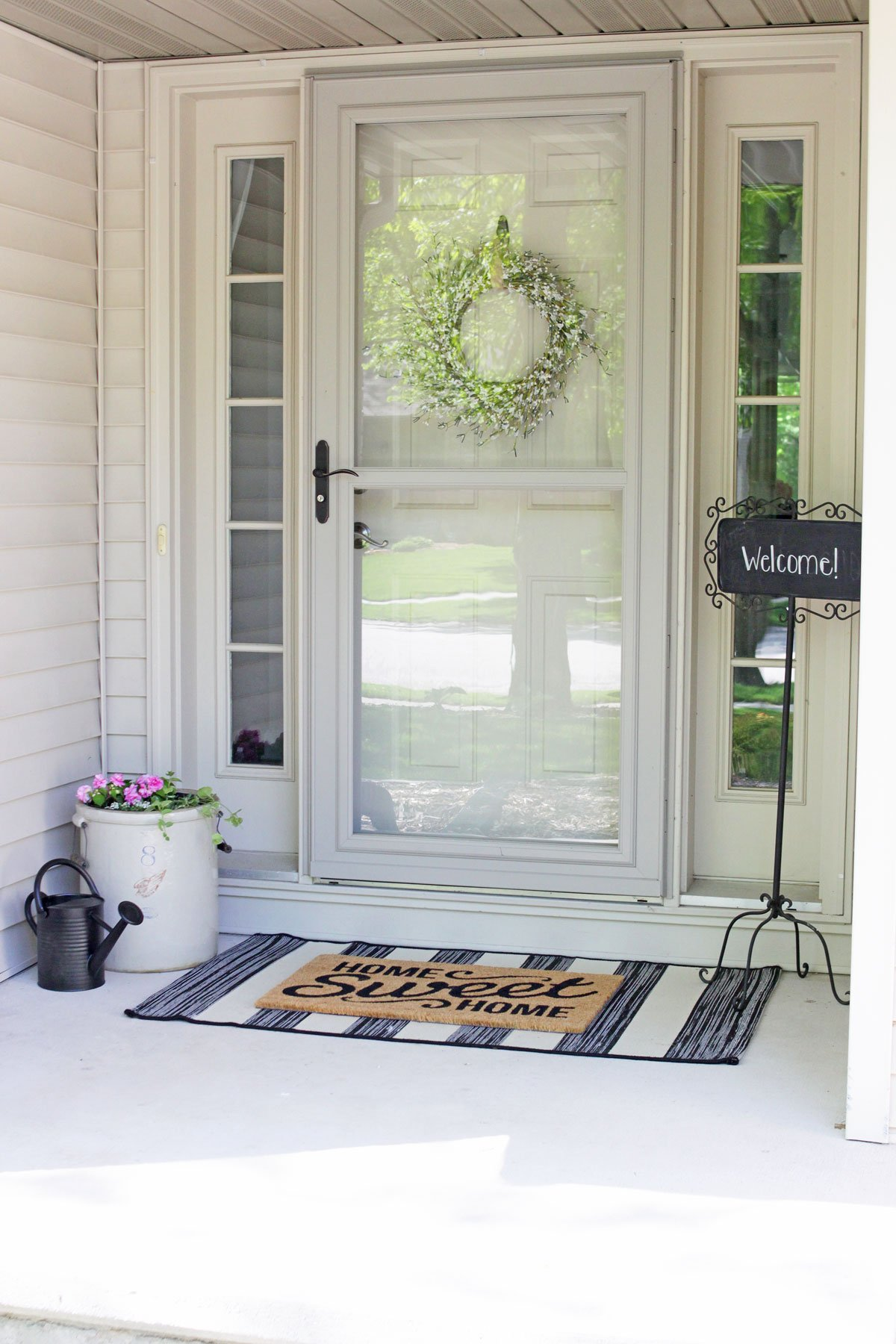 simple modern farmhouse spring front porch decor
