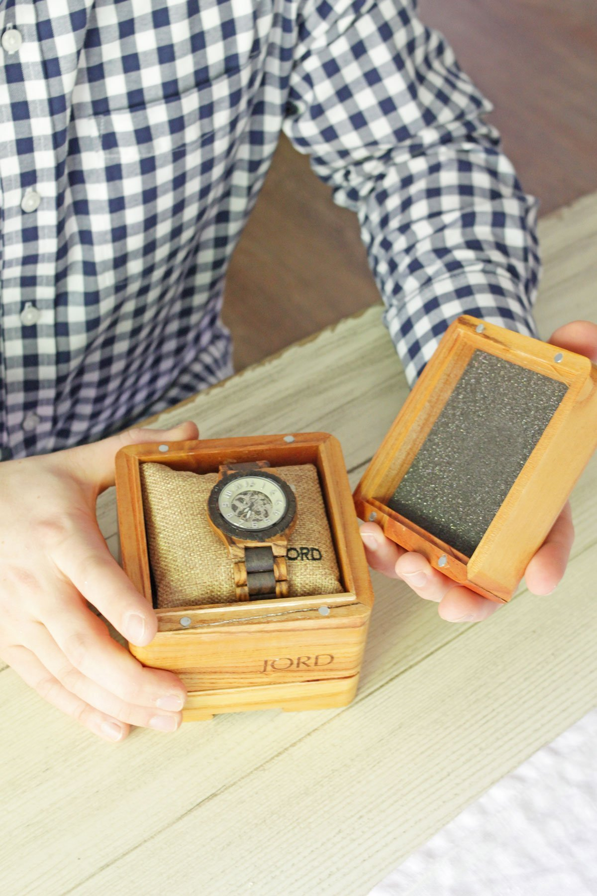 Celebrate Father's Day with JORD - Men's JORD Watch Dover Series Zebrawood & Dark Sandalwood