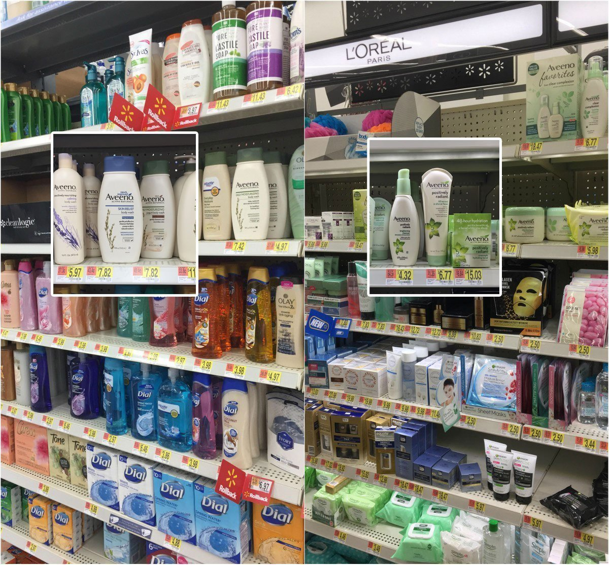 Walmart in-store photo of AVEENO products