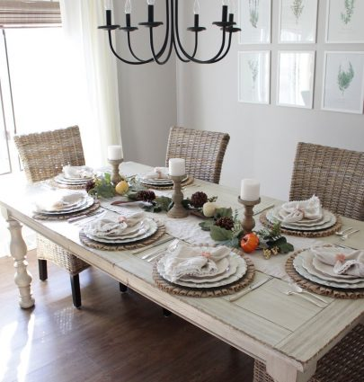 Our Farmhouse-Inspired Thanksgiving Table Setting
