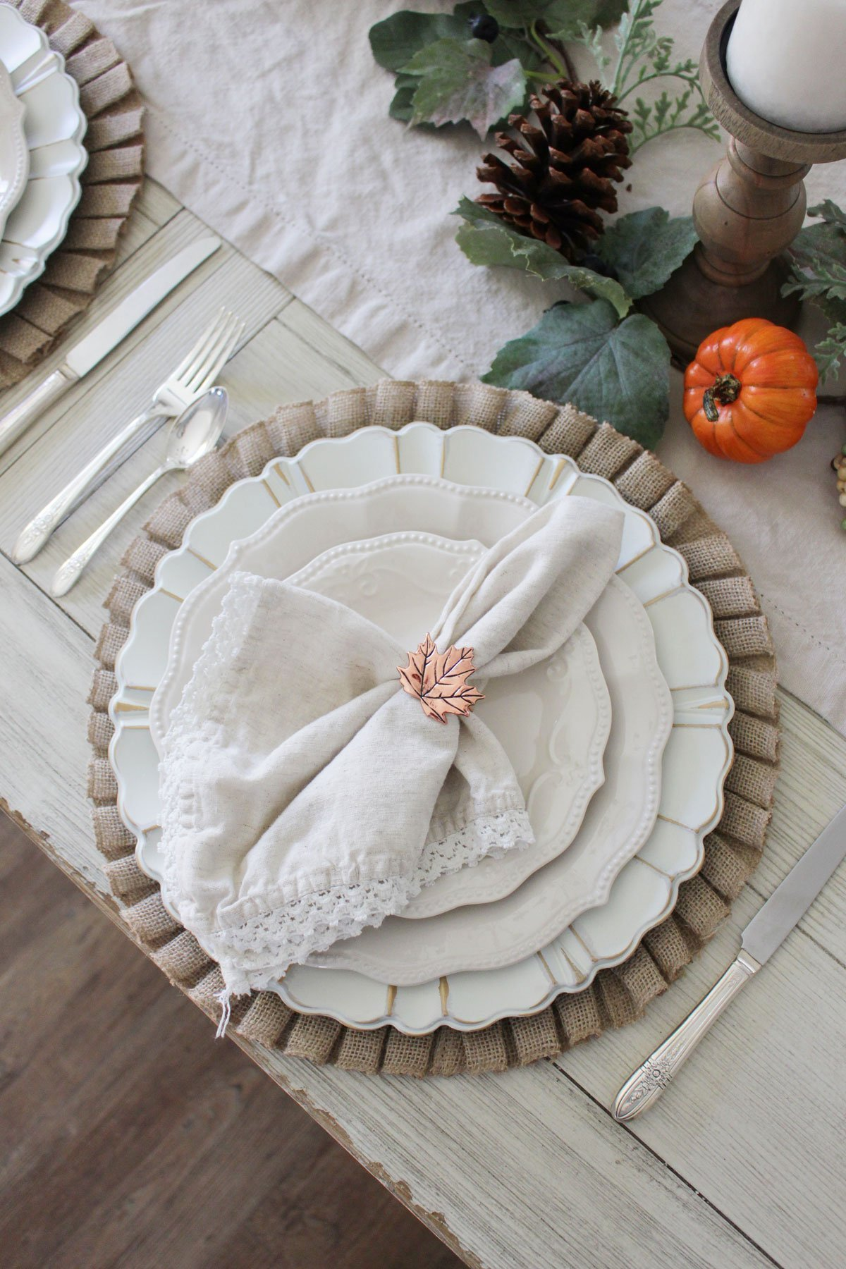 Pier 1 ruffled burlap place mats and distressed chargers