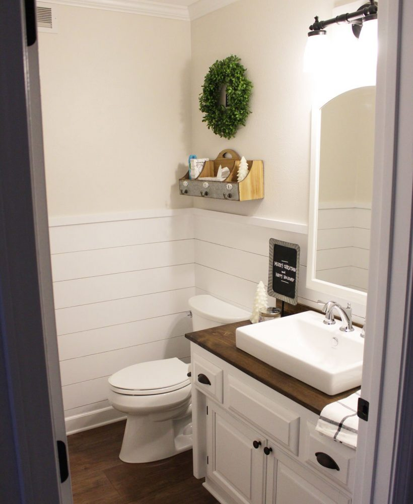 Shiplap Wainscoting in Our Half Bathroom