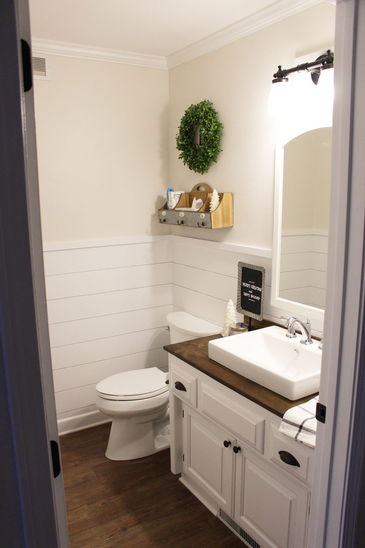 Shiplap Wainscoting in Our Half Bathroom • What Karly Said