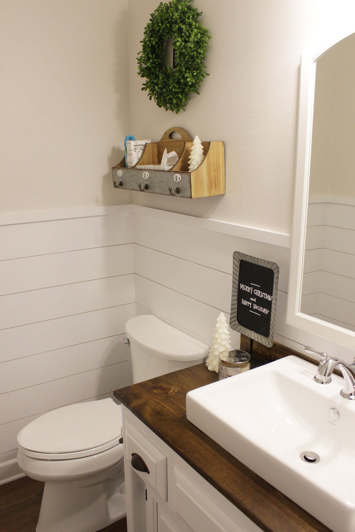 Shiplap Wainscoting In Our Half Bathroom What Karly Said