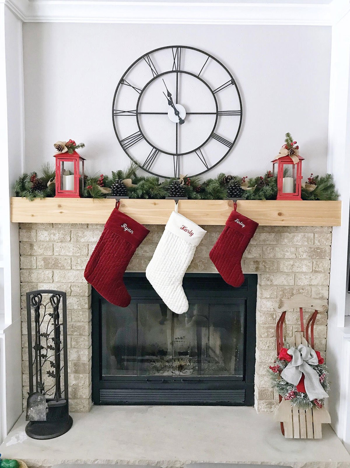 red and white Christmas fireplace mantle decor