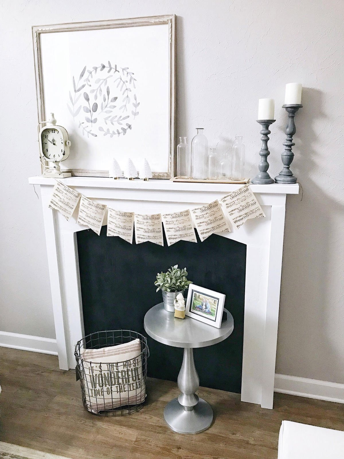 faux fireplace Christmas mantle decor