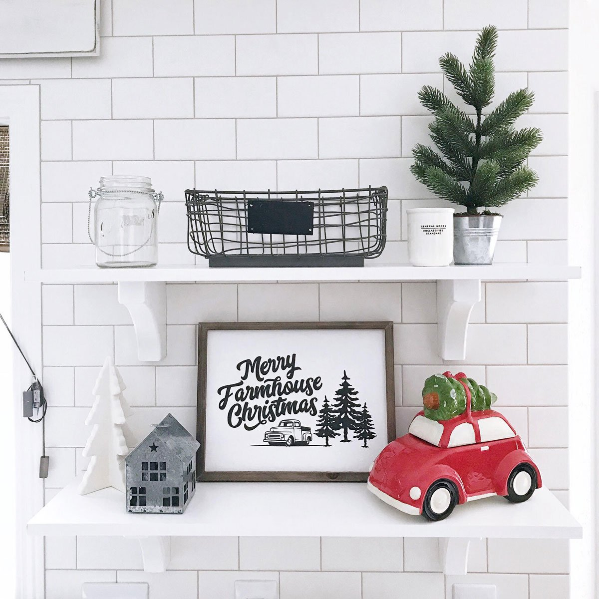 kitchen floating shelves Christmas decor