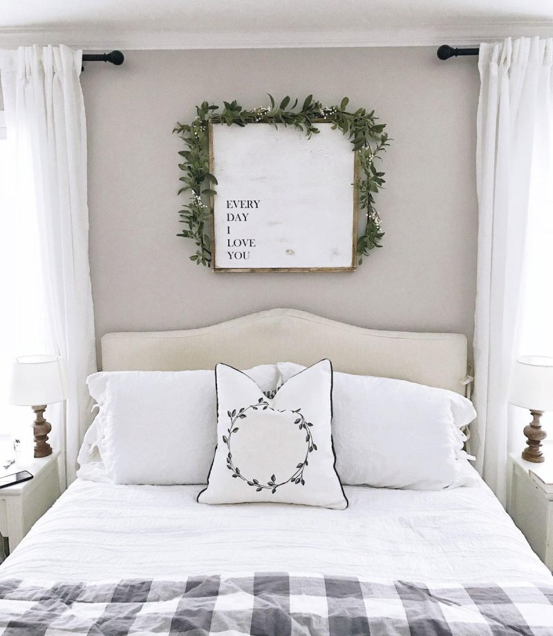 Our Home at Christmas neutral master bedroom winter decor