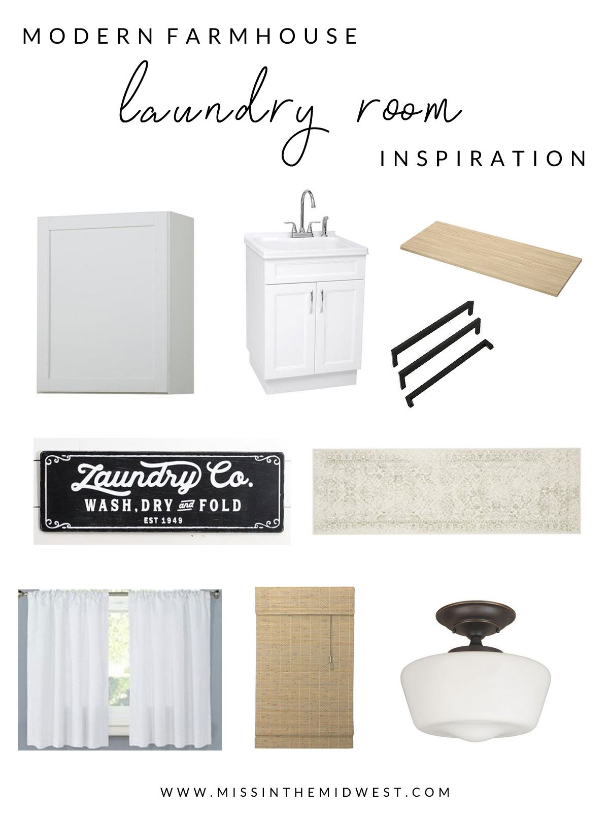 Modern Farmhouse Laundry Room Inspiration mood board