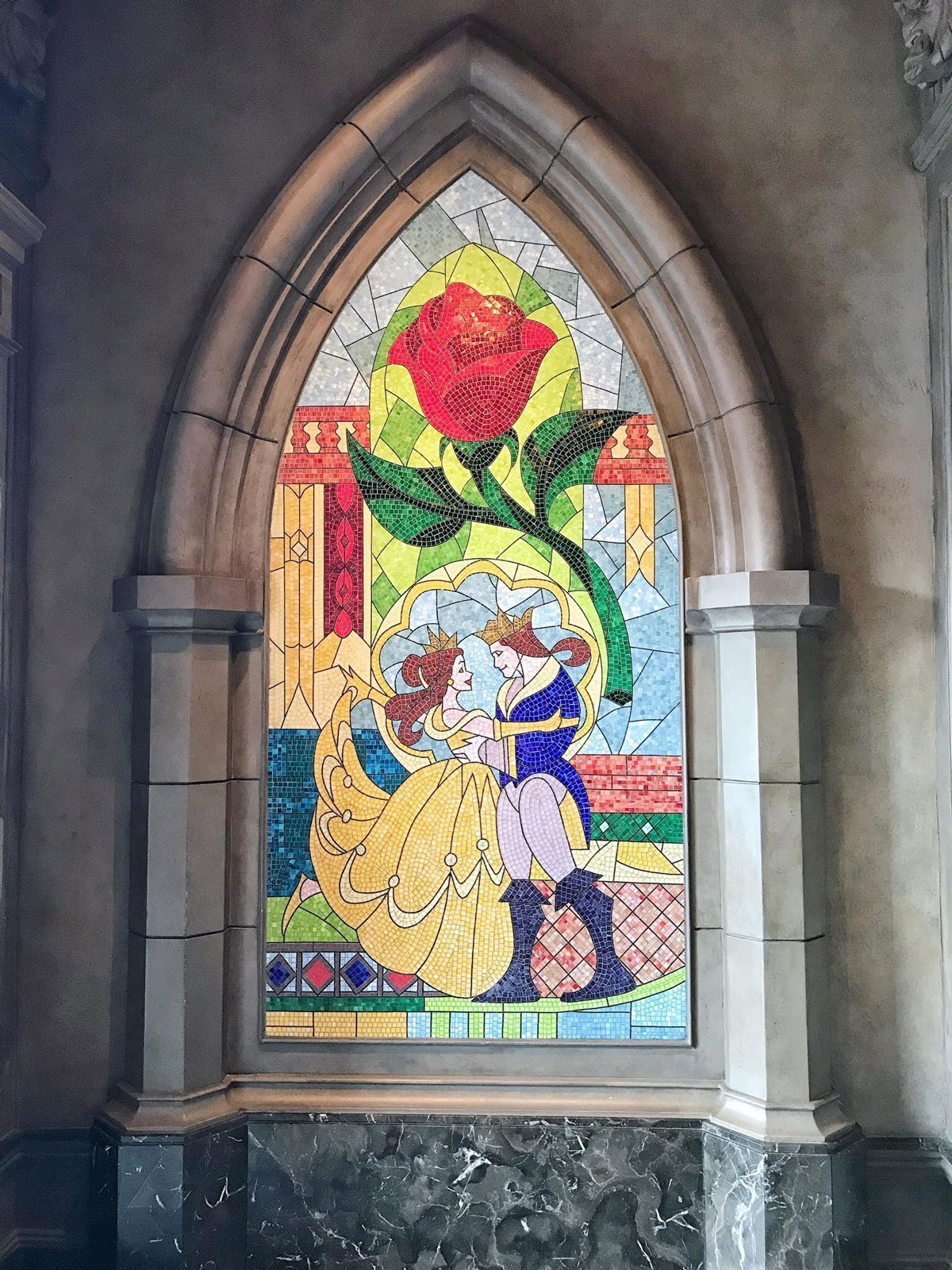 Disney's Magic Kingdom Be Our Guest restaurant stained glass