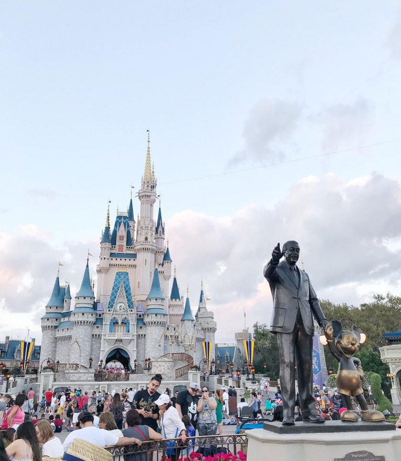 Cinderella's Castle and Walt Disney/Mickey statue