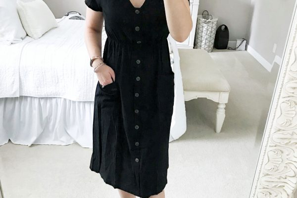 amazon shopping haul try on black short sleeve midi dress