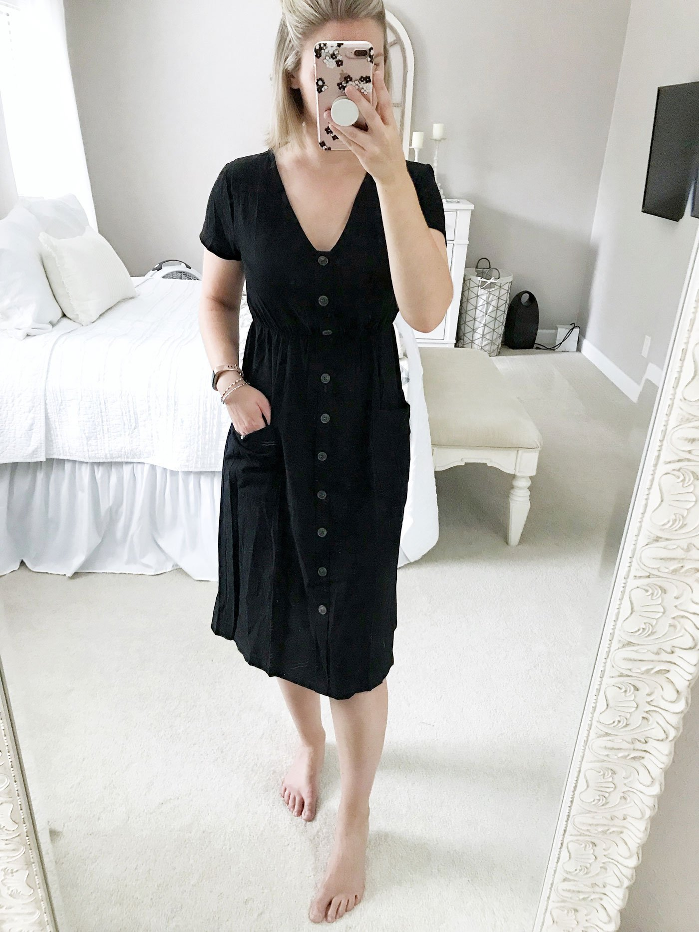 amazon style shopping haul black short sleeve midi dress
