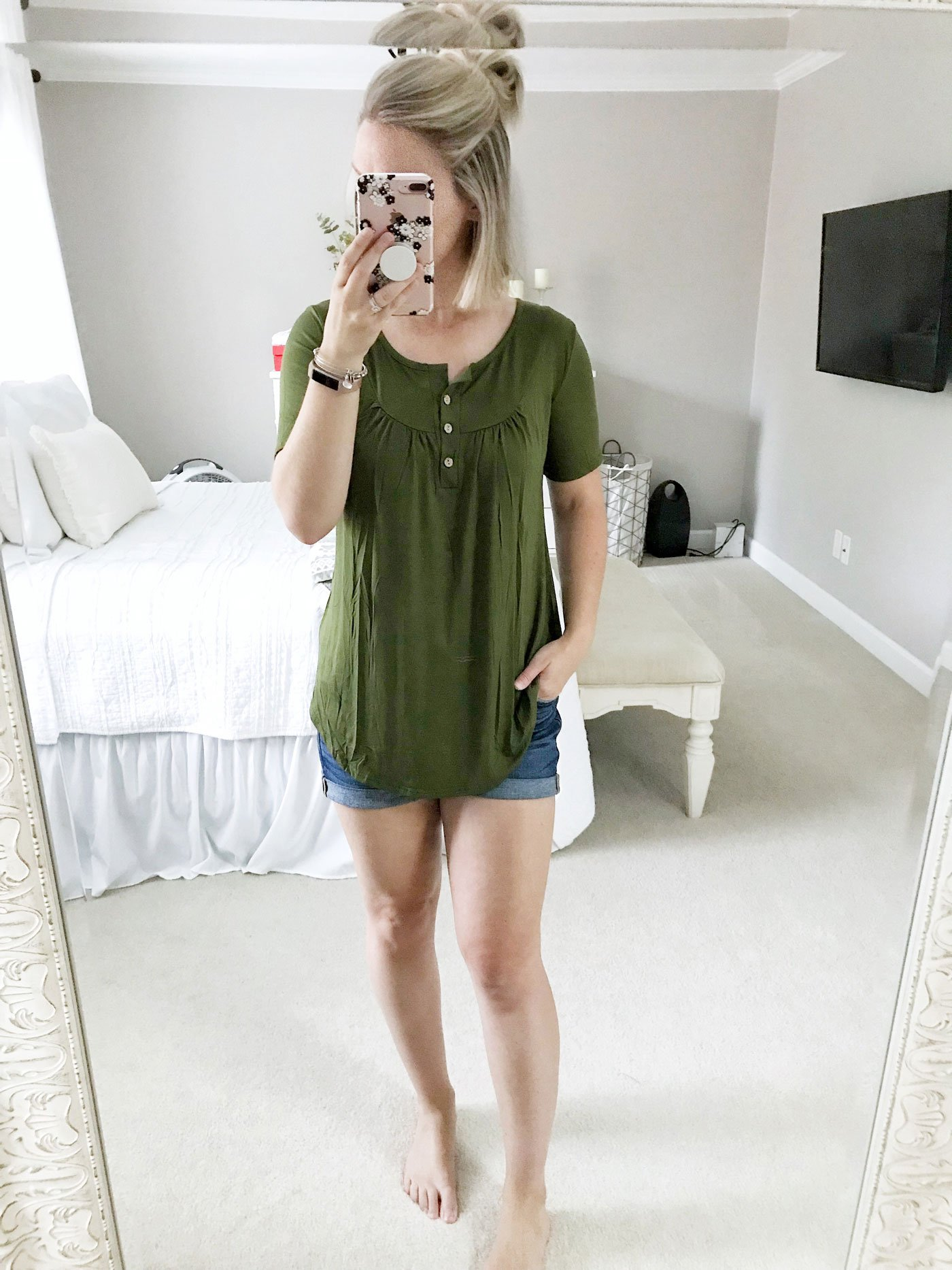 amazon style shopping haul short sleeve v neck button tunic