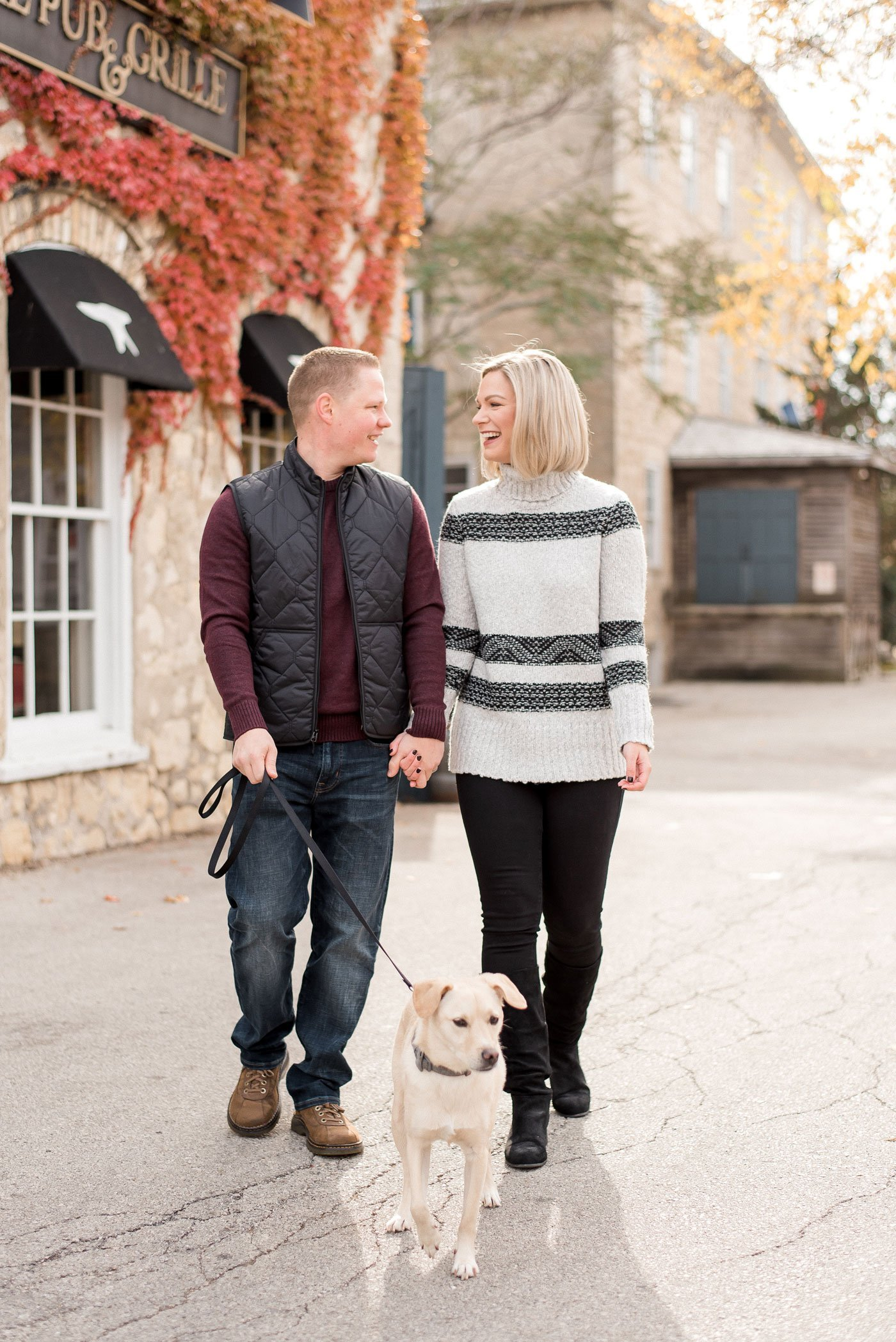 fall couples photo with dog - cedarburg, wis.