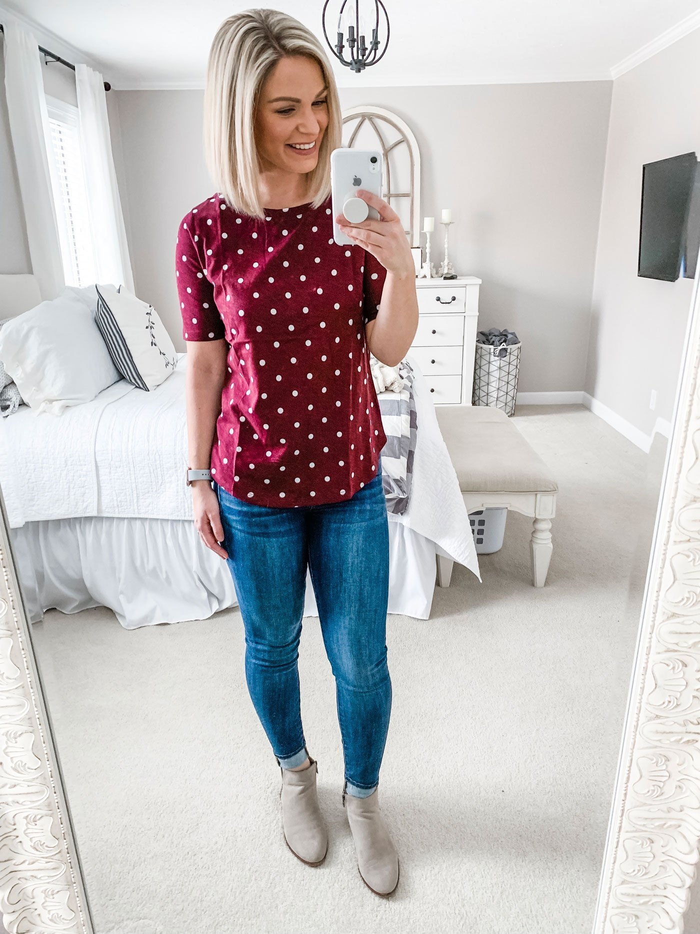 Loft Dotted Vintage Soft Shirttail Tee
