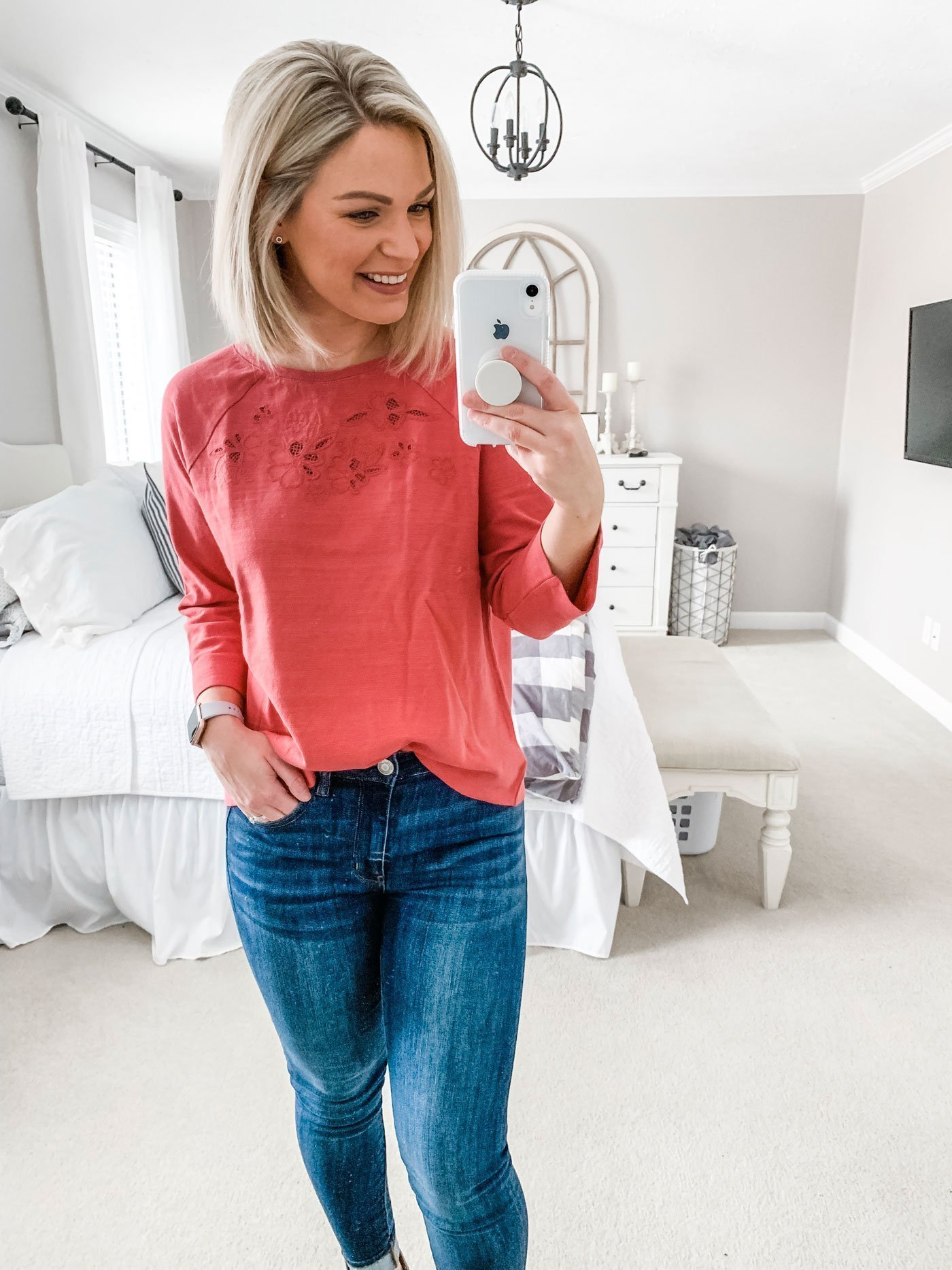 At-Home Dressing Room Diary: Loft Embroidery Eyelet Sweatshirt