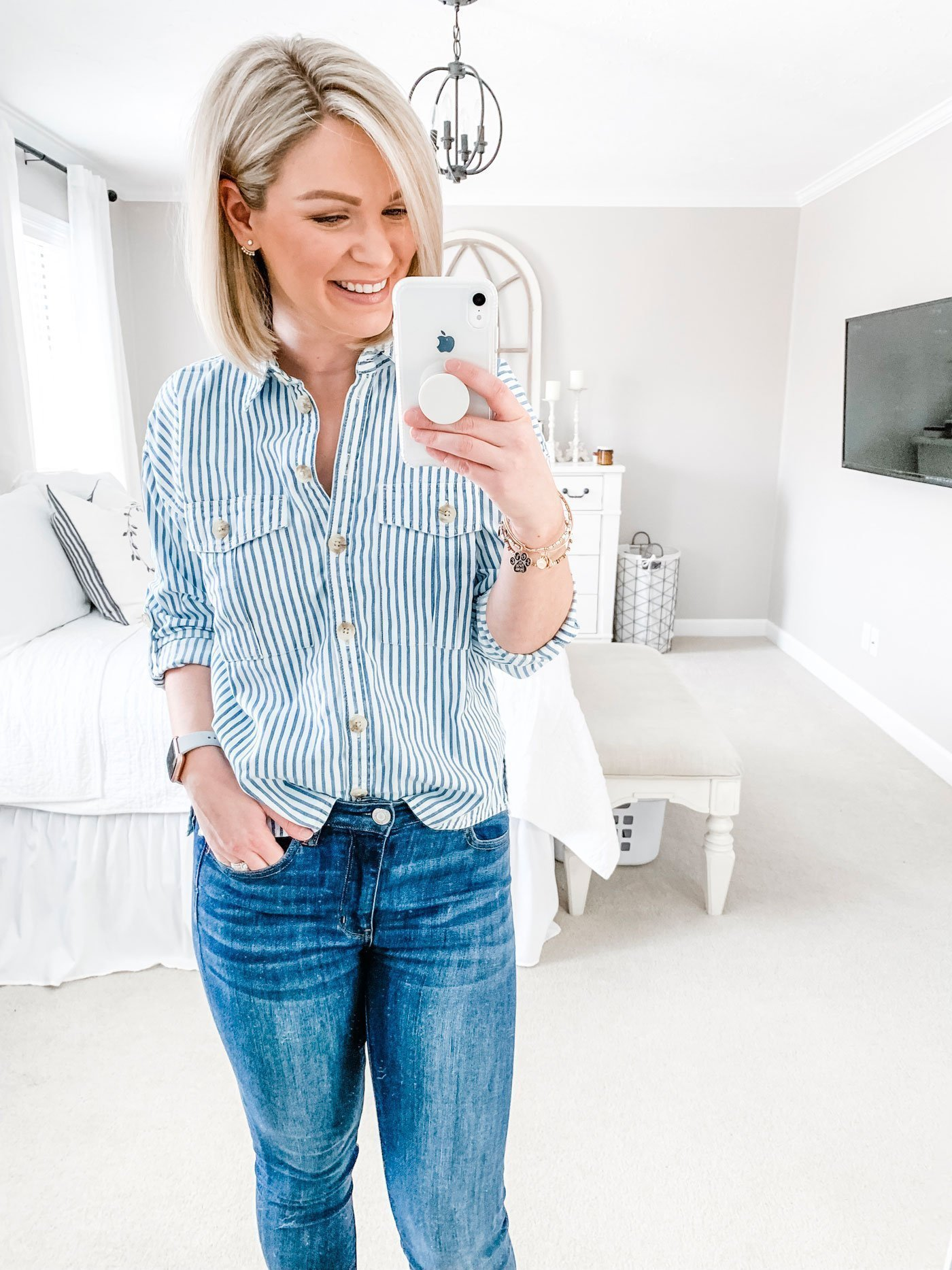 At-Home Dressing Room Diary American Eagle - striped button down top