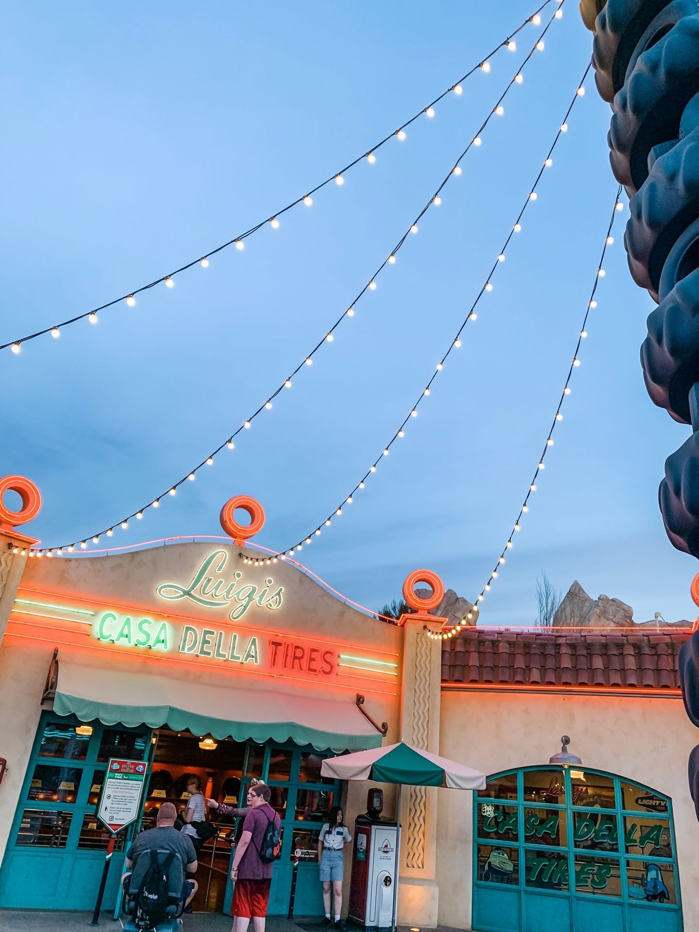 Luigi's Tires in Disney California Adventure Cars Land at Night