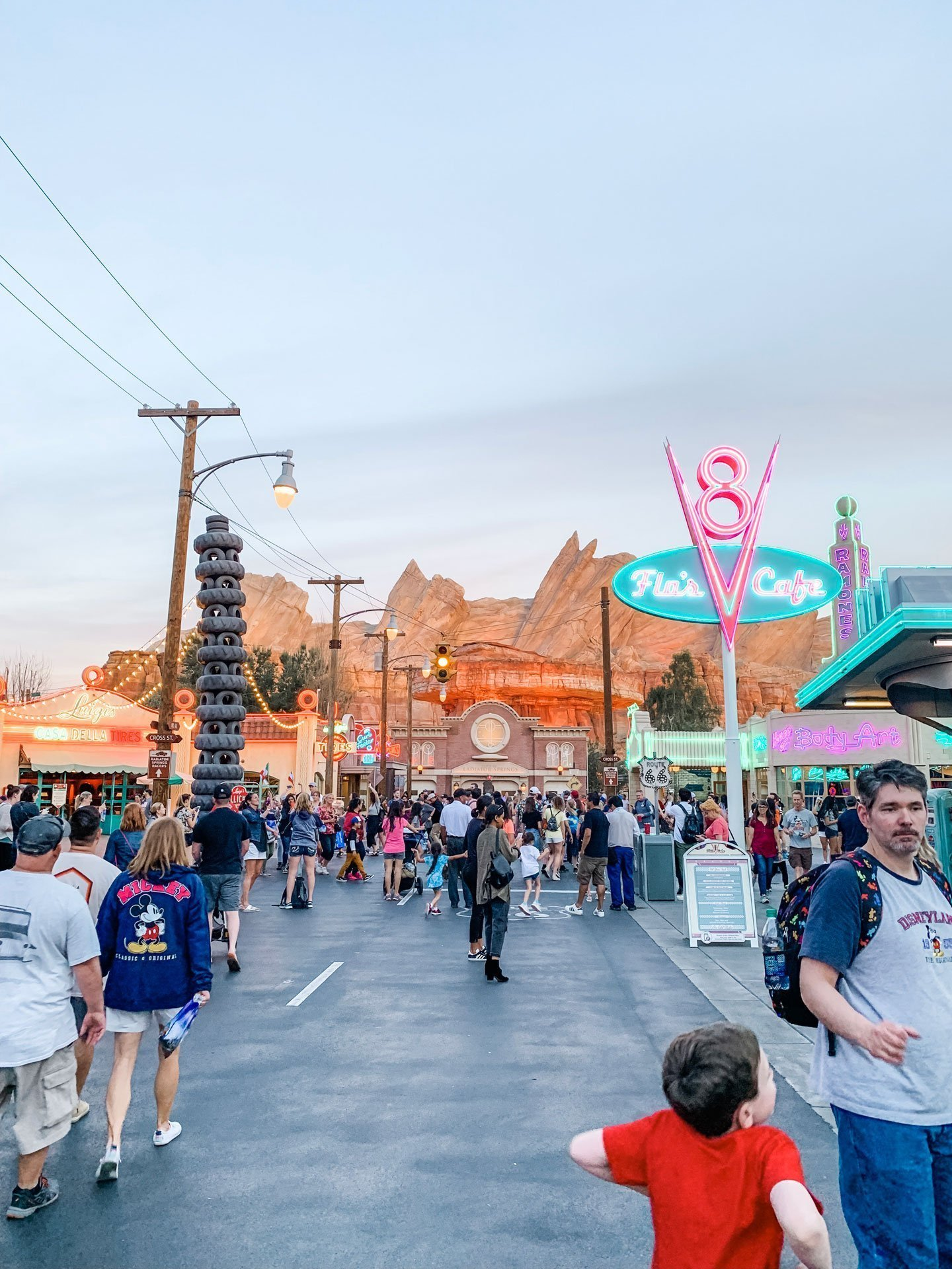 Disney California Adventure Cars Land Main Street at Night
