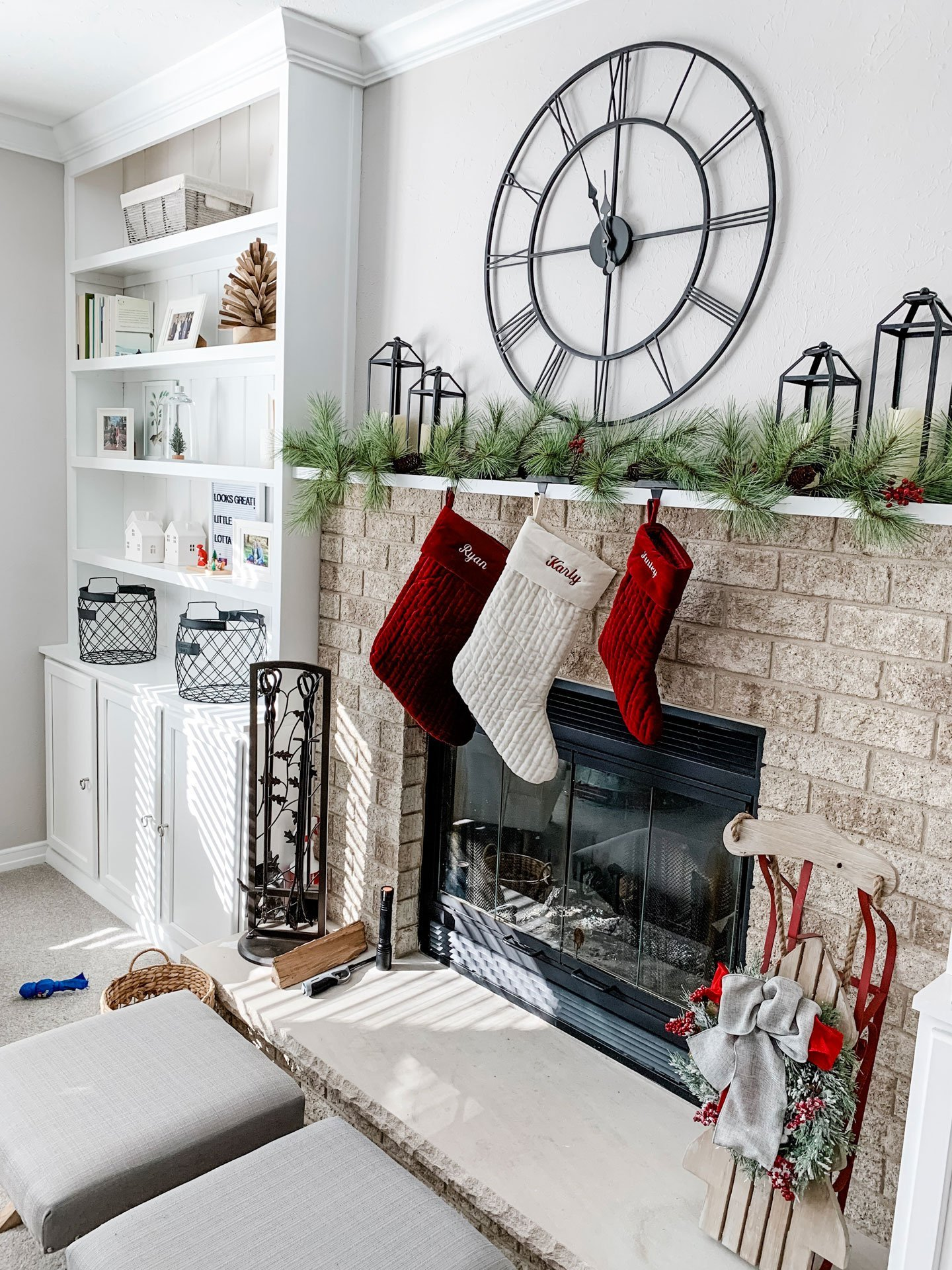 our home at Christmas 2019_white, black and red Christmas decor in family room