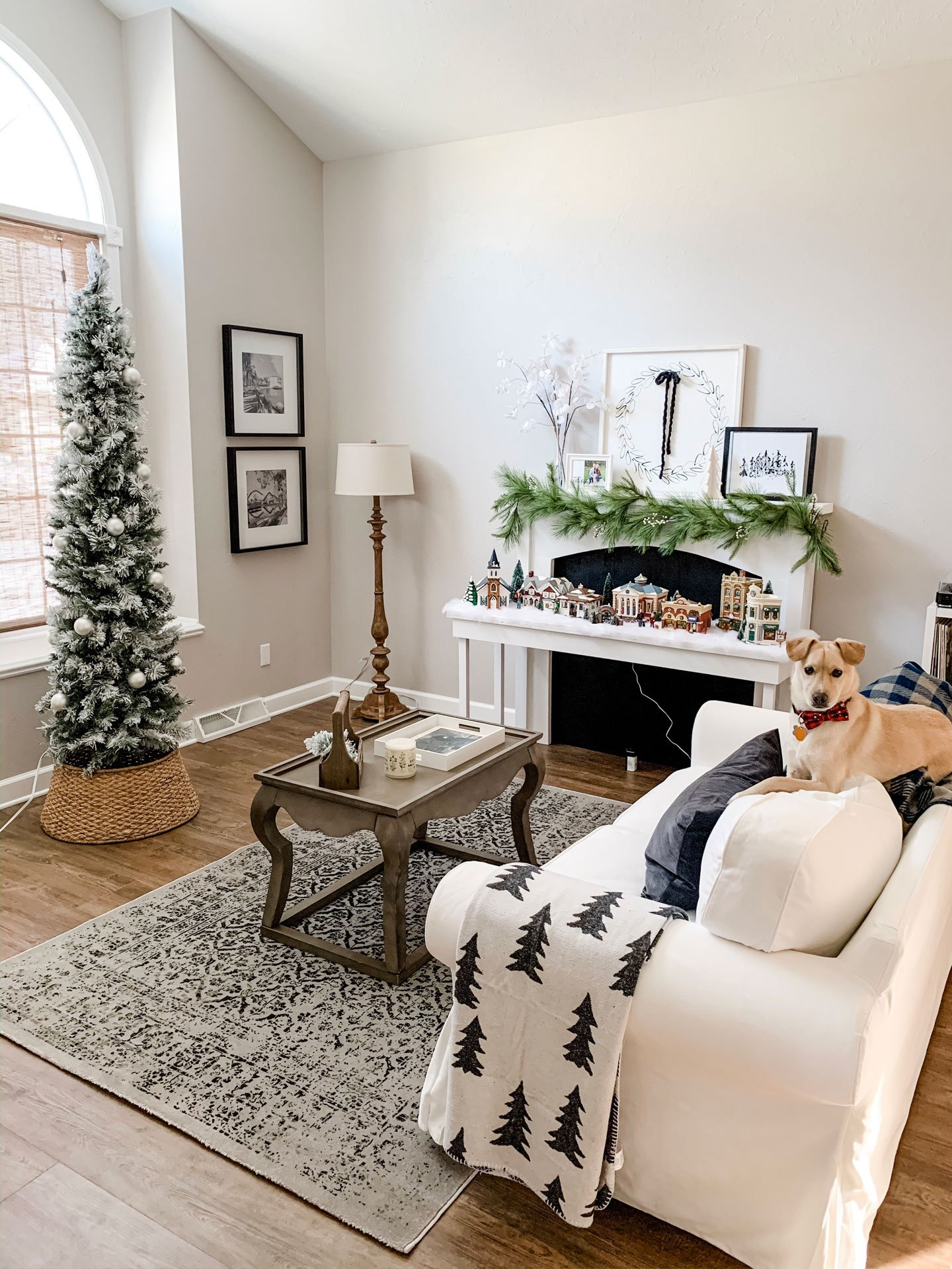 our home at Christmas 2019_black and white family room Christmas decor